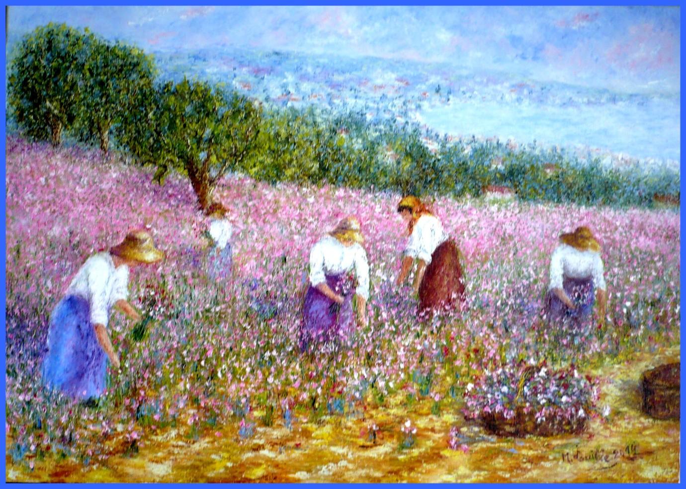 La cueillette des oeillets à Nice autrefois   65x46   2014 (1)