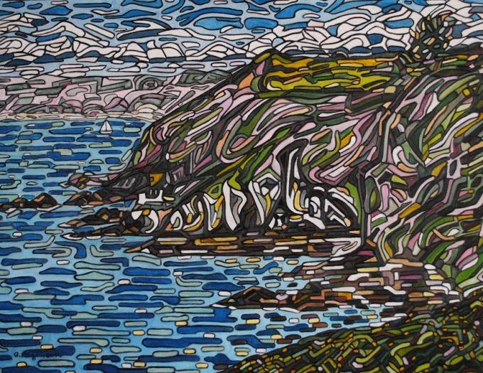 12 Gilles Mazan. La Côte près de Bréhec, De[s]composition[s] de couleurs (4). 2014. Huile sur toile. 116x89 cm